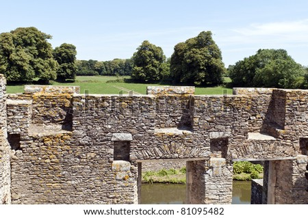 stone wall of a castle in France