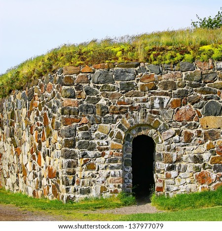 Stone Wall of Suomenlinna Sveaborg Fortress in Helsinki, Finland - stock photo
