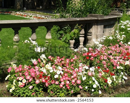 stone wall on a garden - stock photo