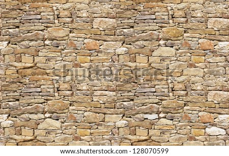 Stone wall rustic texture big seamless background - stock photo