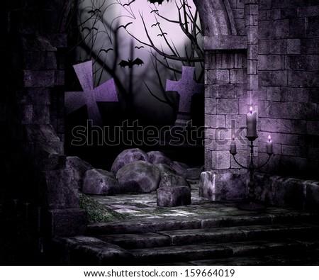 Stone Wall Spooky Background - stock photo
