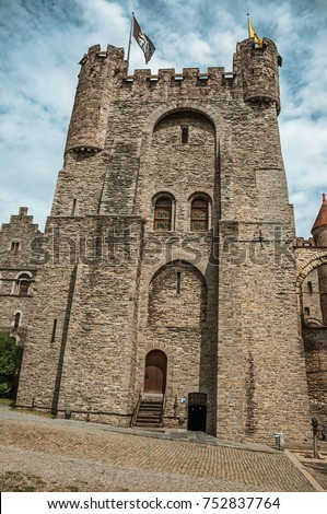 Stone Watchtower Door Flags Inside Gravensteen Stock Photo (Royalty Free) 752837764 - Shutterstock & Stone Watchtower Door Flags Inside Gravensteen Stock Photo (Royalty ...