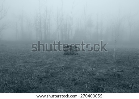 Stone Well in the Misty Forest - stock photo