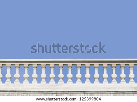 stone white balustrade with pillar on sky background