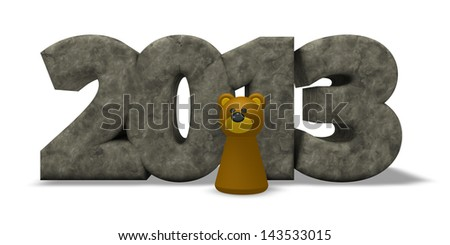 stone year number 2013 and bear - 3d illustration