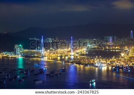 Stonecutters bridge, Hong Kong - stock photo