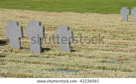 Stonegrave from German military cemetery in Crete, Greece. The cemetery is for the German soldiers who died during 2nd wold war. - stock photo