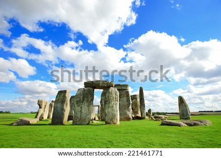 Stonehenge an ancient prehistoric stone monument near Salisbury, Wiltshire, UK. in England - stock photo