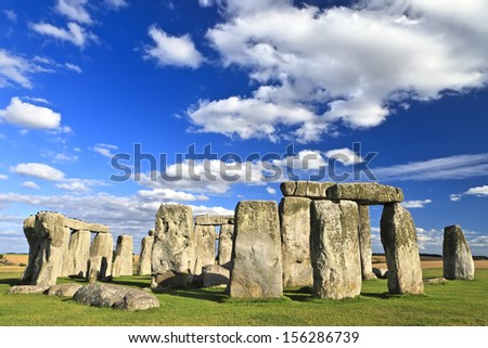 Stonehenge an ancient prehistoric stone monument near Salisbury, Wiltshire, UK. It was built anywhere from 3000 BC to 2000 BC. Stonehenge is a UNESCO World Heritage Site in England - stock photo