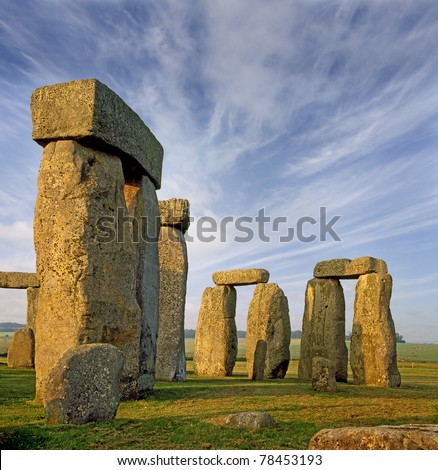 Stonehenge an ancient prehistoric stone monument near Salisbury, Wiltshire, UK, UNESCO World Heritage Site - stock photo