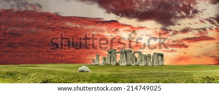 Stonehenge, ancient temple aligned on the movements of the sun - stock photo