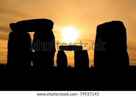 Stonehenge at sunset - stock photo