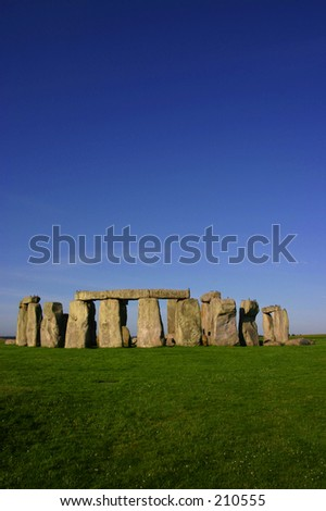 Stonehenge England Sunny Day with Clear Blue Sky - stock photo