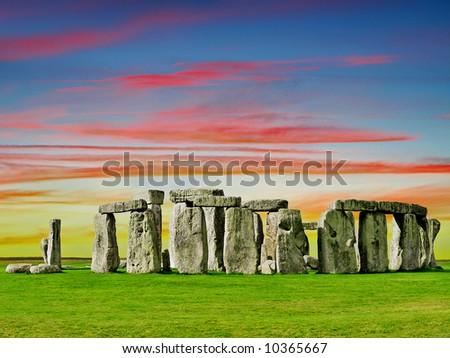 Stonehenge English prehistorical monument at Sunset - stock photo