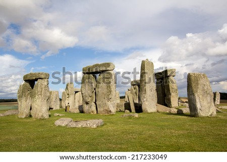 Stonehenge in Wiltshire, England, daytime - stock photo