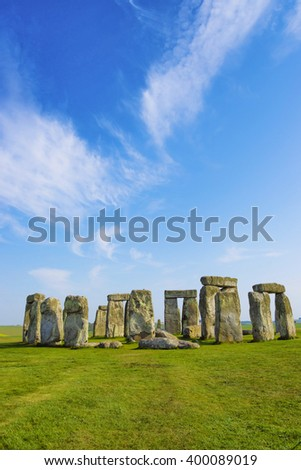 Stonehenge in Wiltshire in England in cloudy weather. It is a prehistoric monument 8 miles north from Salisbury, in the place called Wiltshire in South West England. It is under protection of UNESCO. - stock photo