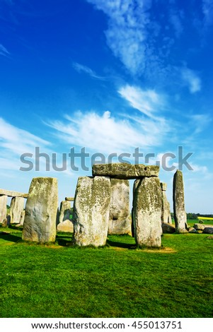 Stonehenge in Wiltshire in the Great Britain. It is a prehistoric monument, in Wiltshire in South West England. It is under protection of UNESCO. - stock photo