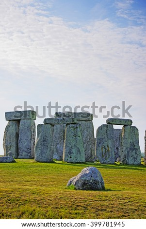 Stonehenge in Wiltshire of England. It is a prehistoric monument 8 miles north from Salisbury, in the place called Wiltshire in South West England. It is under protection of the UNESCO. - stock photo