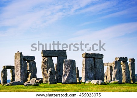 Stonehenge in Wiltshire of Great Britain in cloudy weather. It is a prehistoric monument, in Wiltshire in South West England. It is under protection of UNESCO. - stock photo