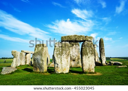 Stonehenge in Wiltshire of the Great Britain. It is a prehistoric monument, in Wiltshire in South West England. It is under protection of UNESCO. - stock photo