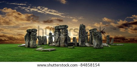 Stonehenge large panorama at sunset, United Kingdom (without tourists) - stock photo