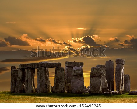 Stonehenge on Salsbury Plain in Wiltshire in southwest England. Built about 3000BC Stonehenge is Europe's most famous prehistoric monument. UNESCO World Heritage Site. - stock photo