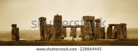 Stonehenge panorama with cloud near London as the National Heritage site of UK. - stock photo