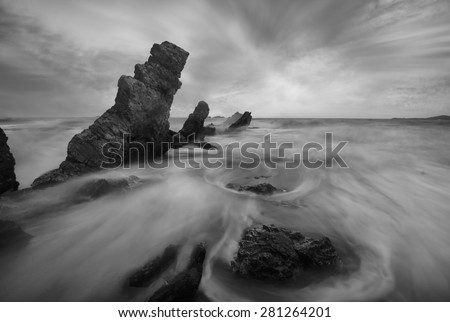 Stonehenge ripple black and white tone. - stock photo