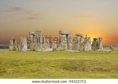 Stonehenge, the UNESCO world heritage site in UK - stock photo