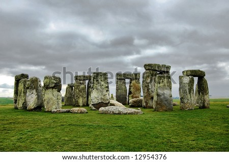 stonehenge under gloomy skies
