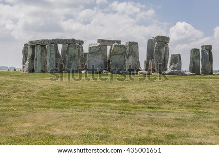 Stonehenge, Wiltshire, England-JUNE 2, 2010: most known prehistoric monument from Bronze and Neolithic ages, UNESCO world heritage site, visited by many thousands of tourists