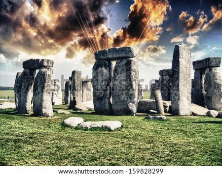 Stonehenge with beautiful sky. - stock photo