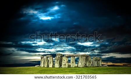 Stonehenge with cloudy sky, England. UK - stock photo