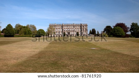 Stoneleigh Abbey a stately home with landscaped parkland visted by Jane Austen . - stock photo