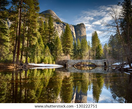 Stoneman bridge in morning light at Yosemite National Park - stock photo