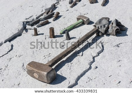 stonemason tools used to split the stone - stock photo