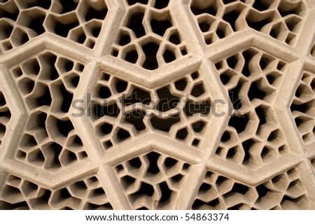 "Stonemasonry at Mausoleum of Itimad-ud-Daula (""Baby"" Taj) in Agra - stock photo"