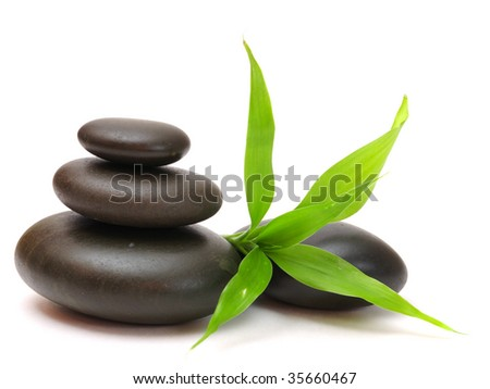 stones and bamboo - stock photo