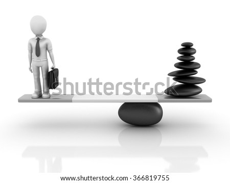 Stones and Businessman Balancing on a Seesaw - Balance Concept - High Quality 3D Render   - stock photo