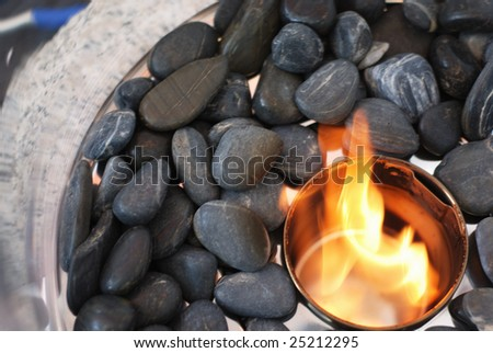 stones and flame, fire and pebble, horizontal