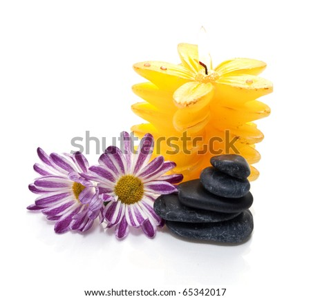 stones and flowers in water on white background
