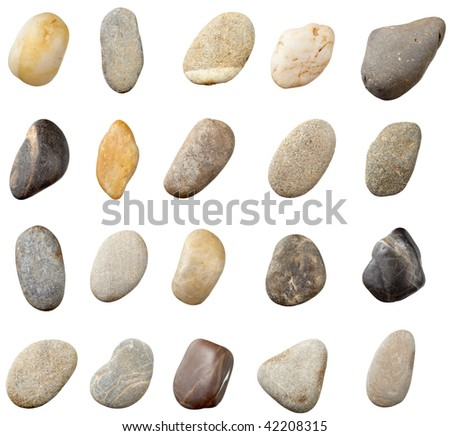stones and on white background. each one is in full camera resolution - stock photo