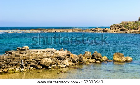 Stones and ruins of Caesarea Maritima, Israel