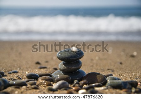 stones and water wave