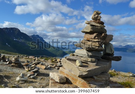 Stones by the Arctic Ocean in the North of Norway - stock photo
