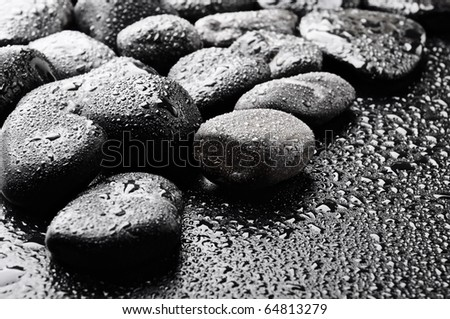 stones frame with drops - stock photo