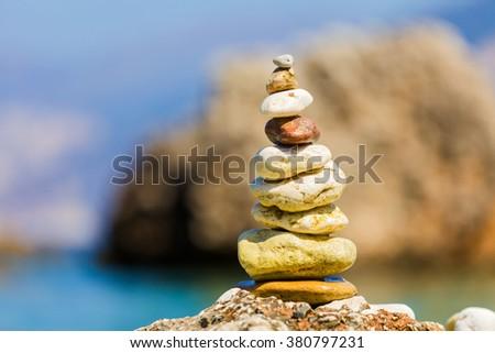 Stones in a pile put together with good care, balanced symbolizing spiritual balance, meditation. - stock photo