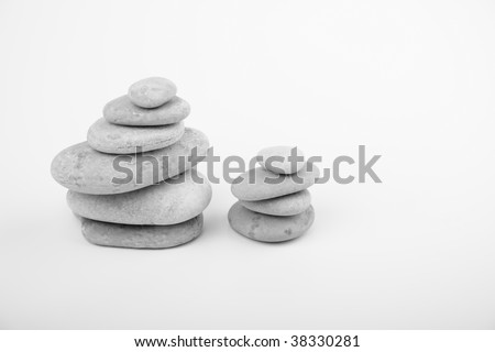 Stones in a pyramid.Black and white image.