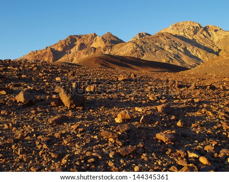 Stones in death valley - stock photo