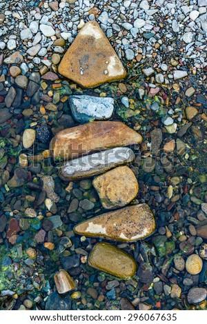 Stones in the creek - stock photo